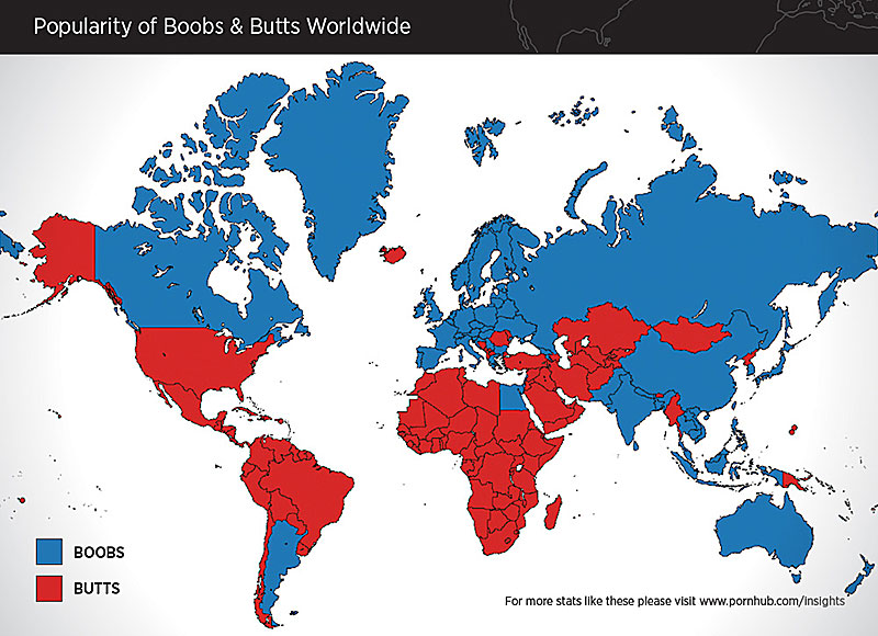 boobs vs butts world map