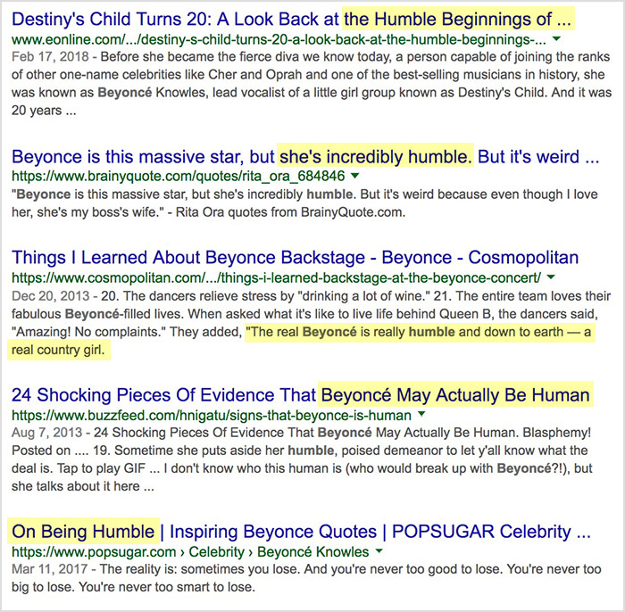 beyonce humble google