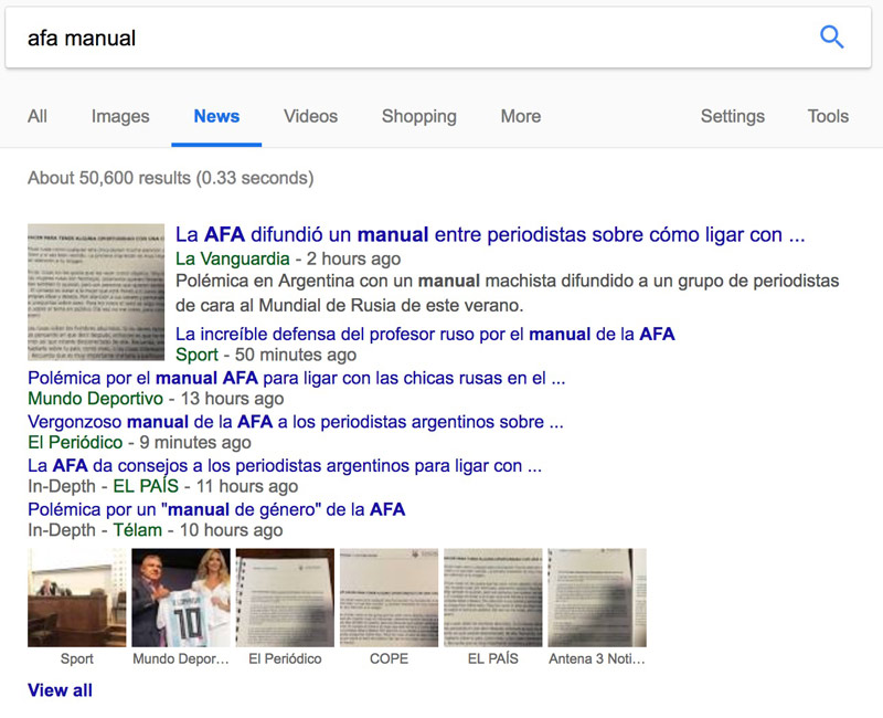 afa manual google results